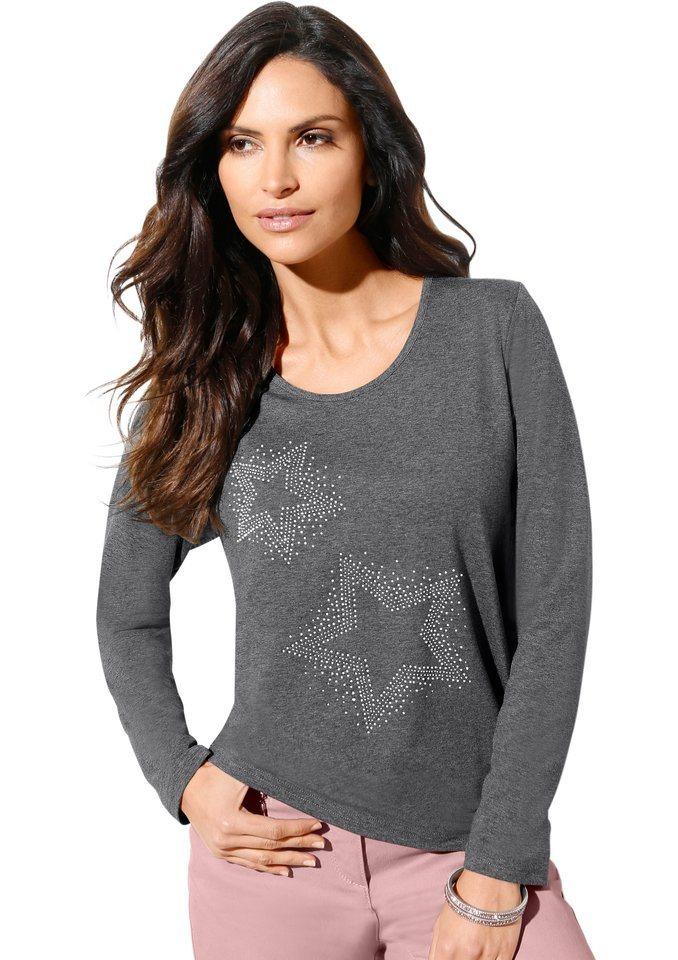 Classic Inspirationen Shirt mit funkelnden Glitzersteinchen im Vorderteil in grau-meliert