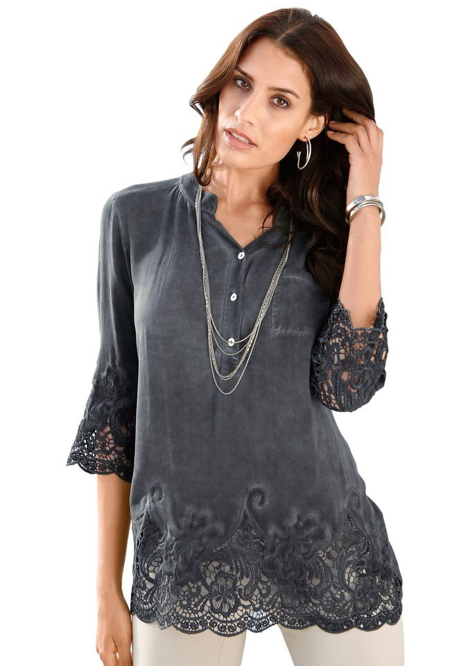 Création L Shirtbluse üppig mit Spitze veredelt in anthrazit