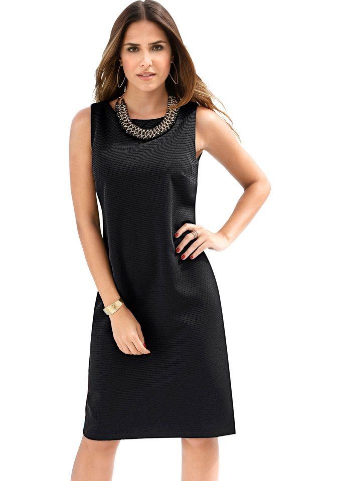 Création L Kleid allover in feiner Rippsturktur in schwarz