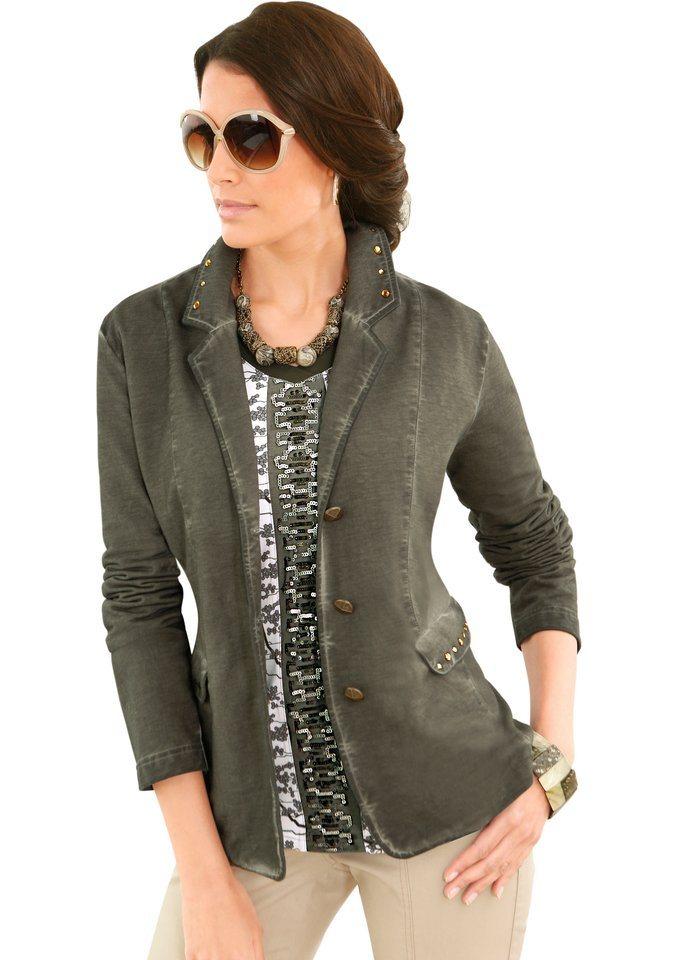 Alessa W. Shirtjacke in trendiger Blazerform in oliv