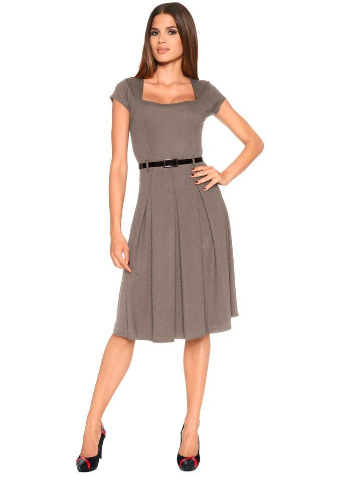 Création L Jersey-Kleid mit femininem Karree-Ausschnitt in taupe