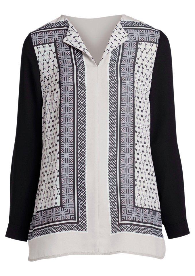Ambria Shirt mit edler Vorderseite in Satin-Optik in schwarz-gemustert
