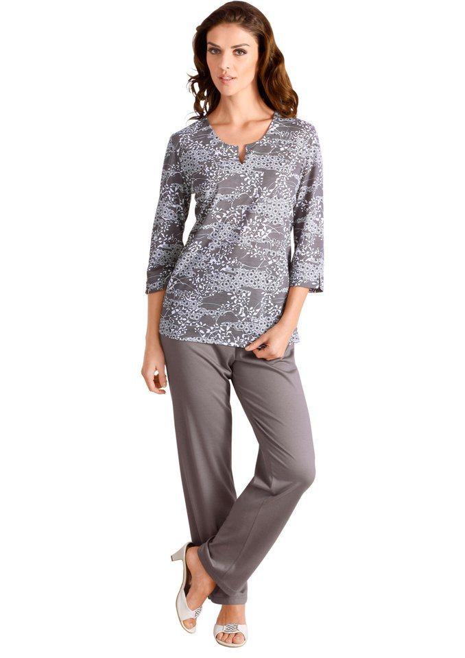 Ascafa Schlafanzug in taupe-bedruckt