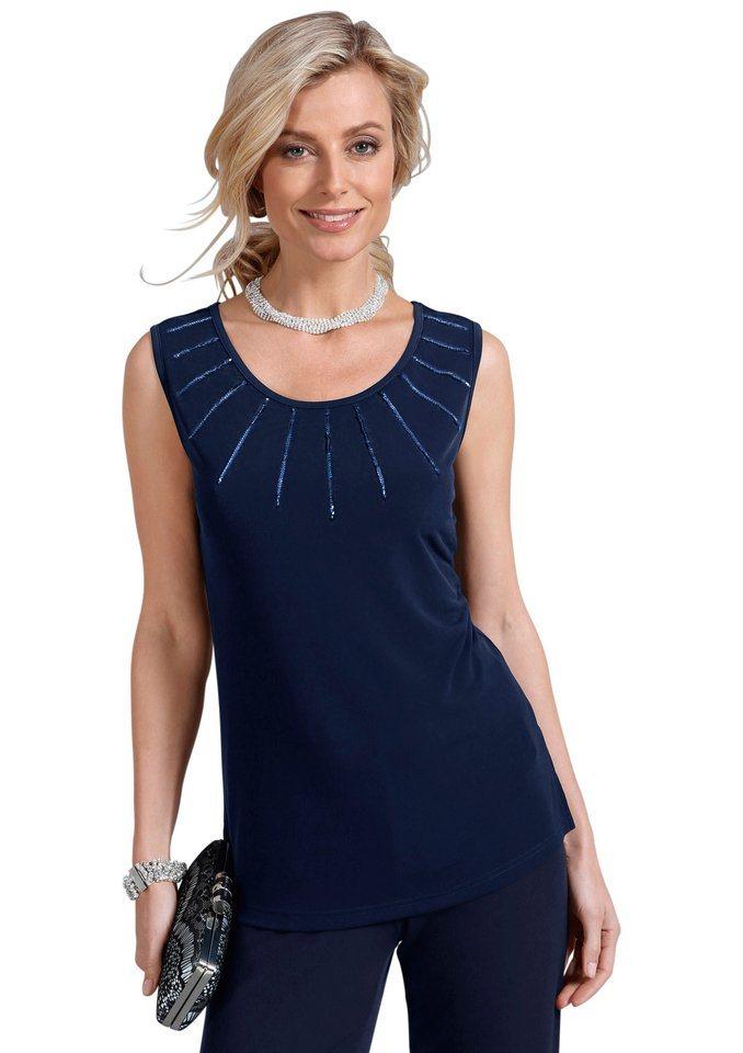 Fair Lady Shirttop mit funkelnden Pailletten in blau