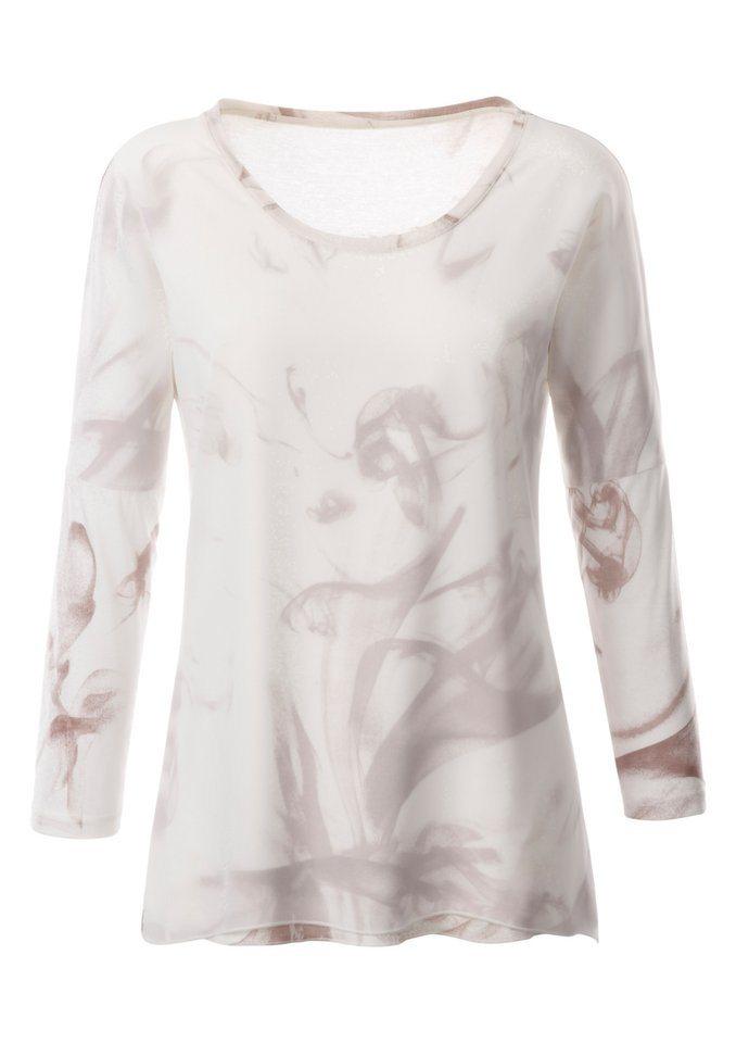 Création L Shirt mit einer Extralage aus zartem Chiffon vorne in ecru-bedruckt