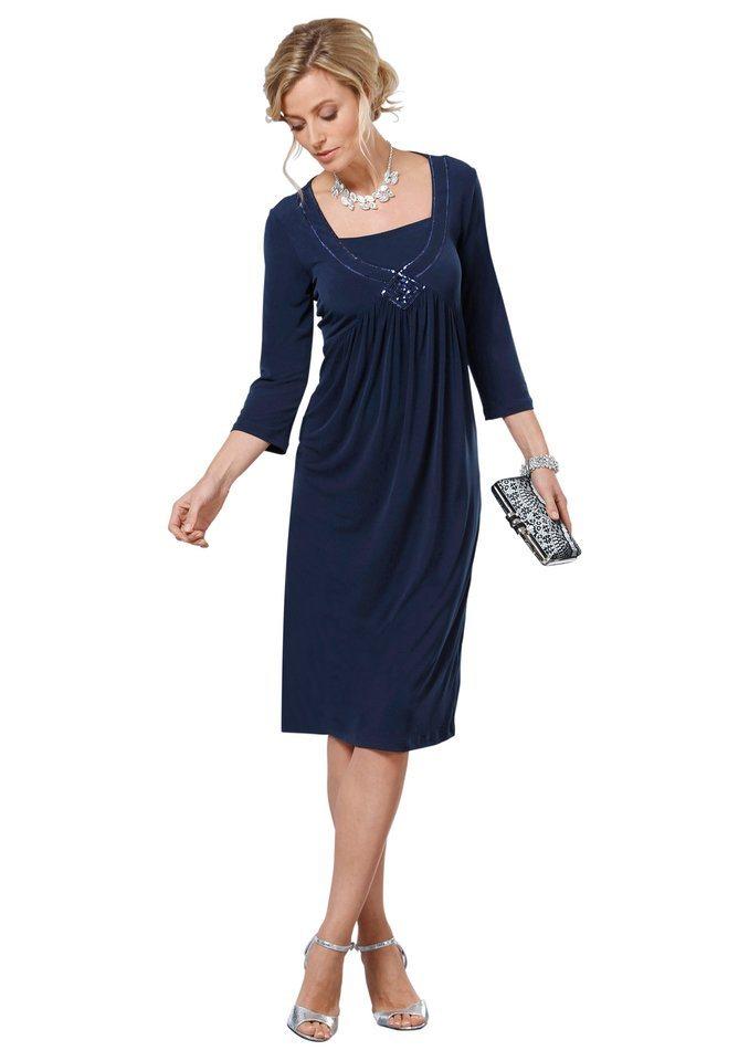 Lady Jersey-Kleid mit funkelnder Paillettenverzierung in blau