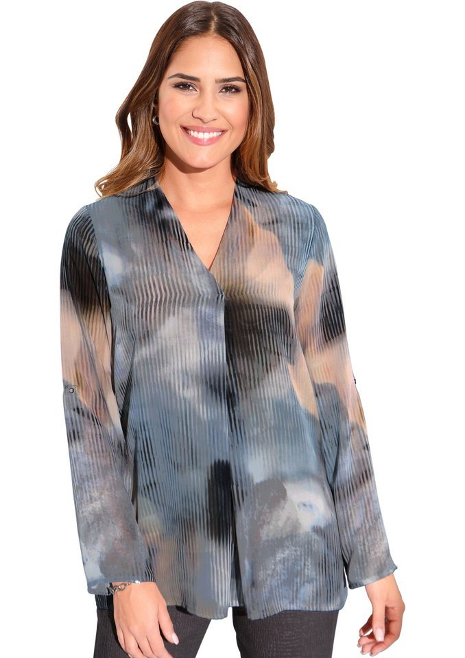 Création L Bluse mit V-Ausschnitt in grau-bedruckt