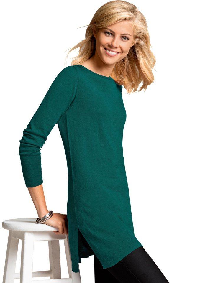 Ambria Longpullover mit komfortablen Seitenschlitzen   Bekleidung > Pullover > Longpullover   Grün   Ambria