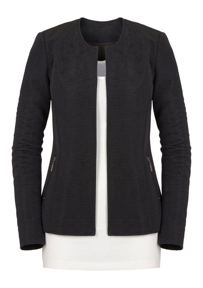 Ambria Blazer in strukturierter, leicht glänzender Qualität in schwarz