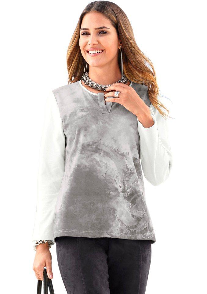 Création L Velours-Shirt mit angesagtem Print im Vorderteil in grau-bedruckt
