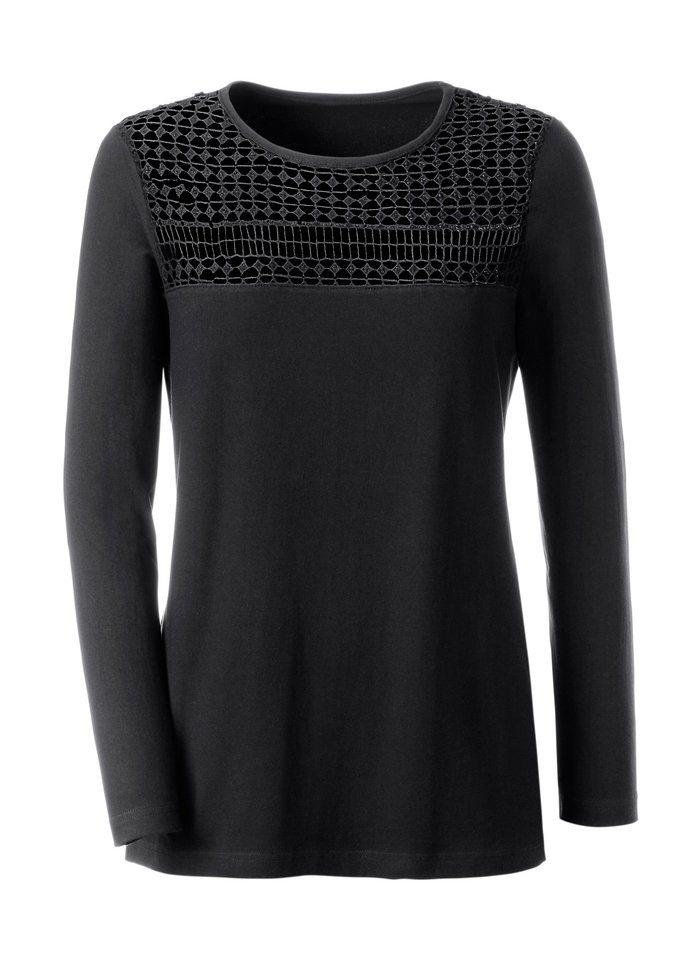 Ambria Shirt mit Häkelspitze in schwarz