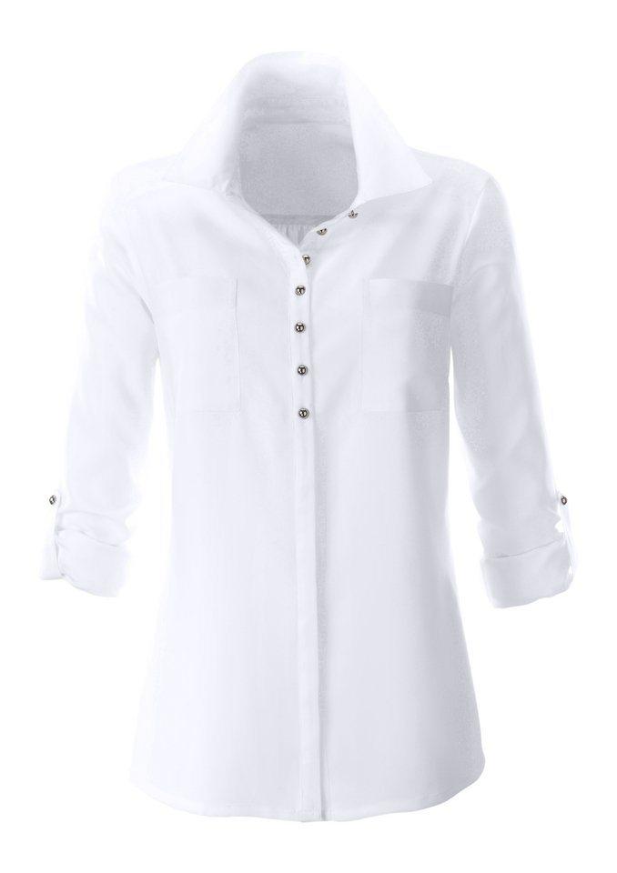 Classic Inspirationen Bluse mit Hemdkragen in weiß