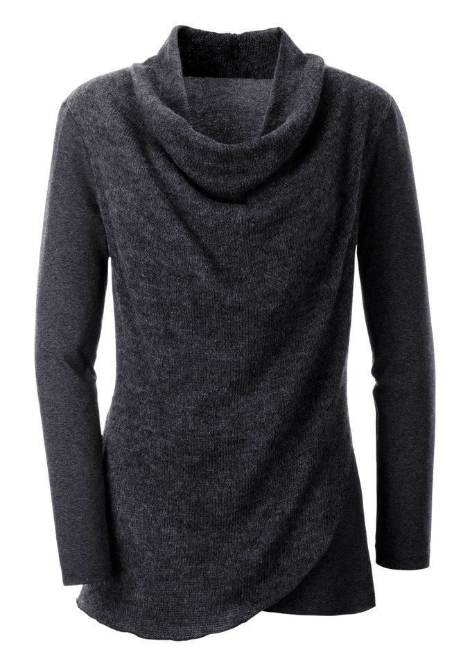 Création L Shirt mit Wasserfall-Ausschnitt in grau-meliert