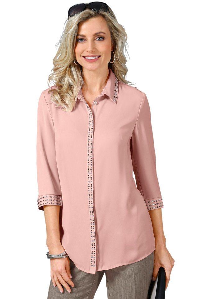 Fair Lady Bluse mit schimmernden Ziersteinchen in rosé