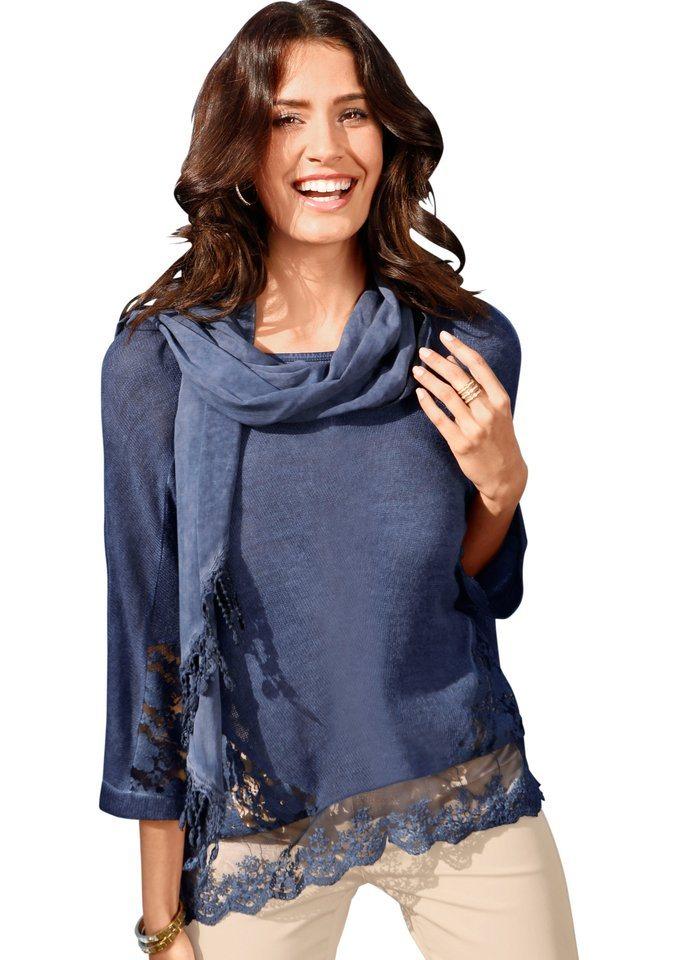Création L Pullover mit Schal im »Oil dyed«-Färbeverfahren in blau