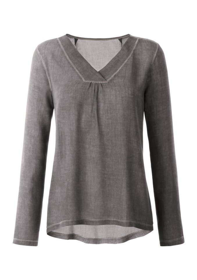 Création L Shirt mit Raffung in taupe