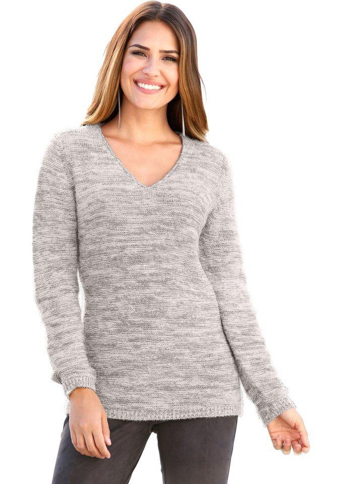 Création L Pullover im weichen Garn mit silberfarbigen Glanzeffekten in grau-meliert
