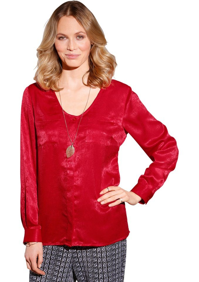 Création L Bluse in gewaschener Satin-Optik in rot