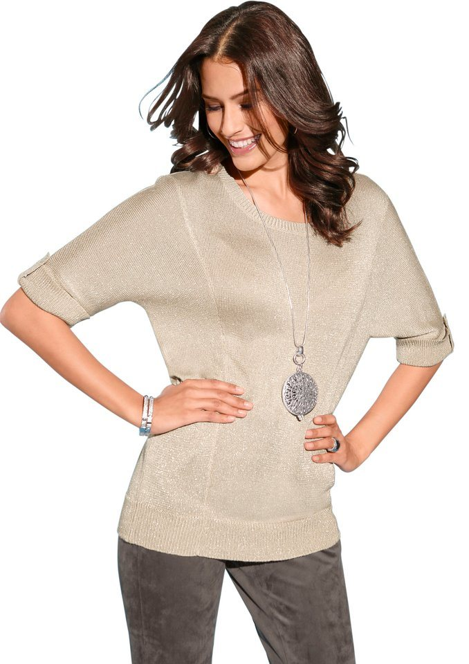 Création L Pullover mit feinen Glanzfäden in sand-silberfarben