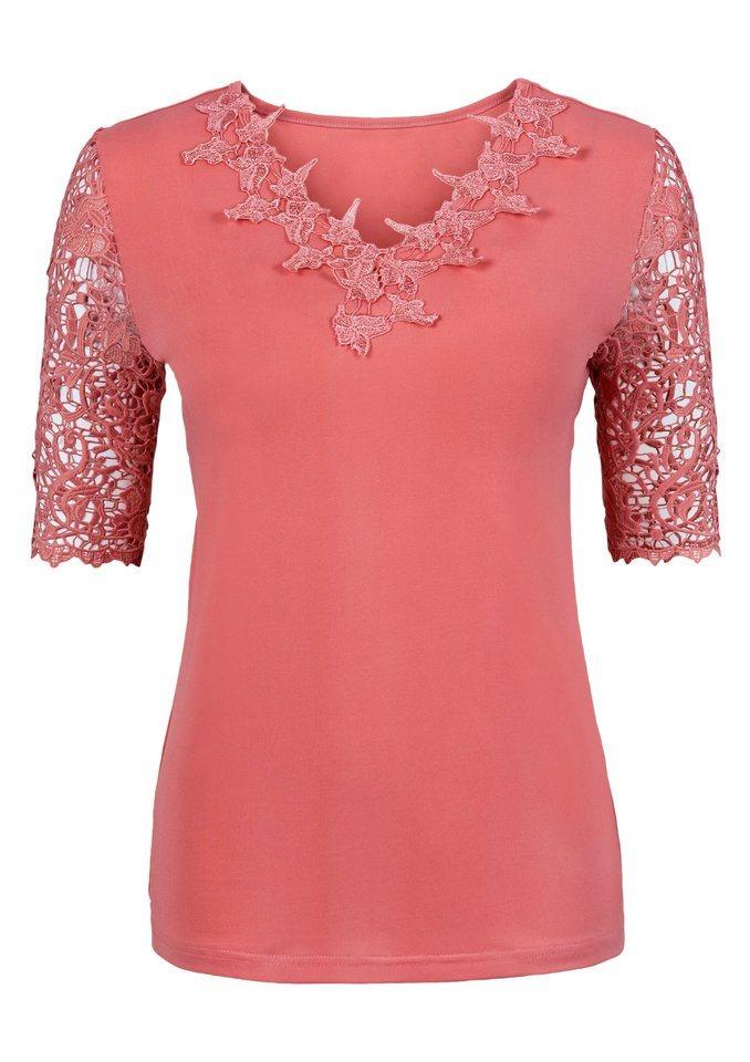 Lady Shirt mit Kurzarm in lachsrot