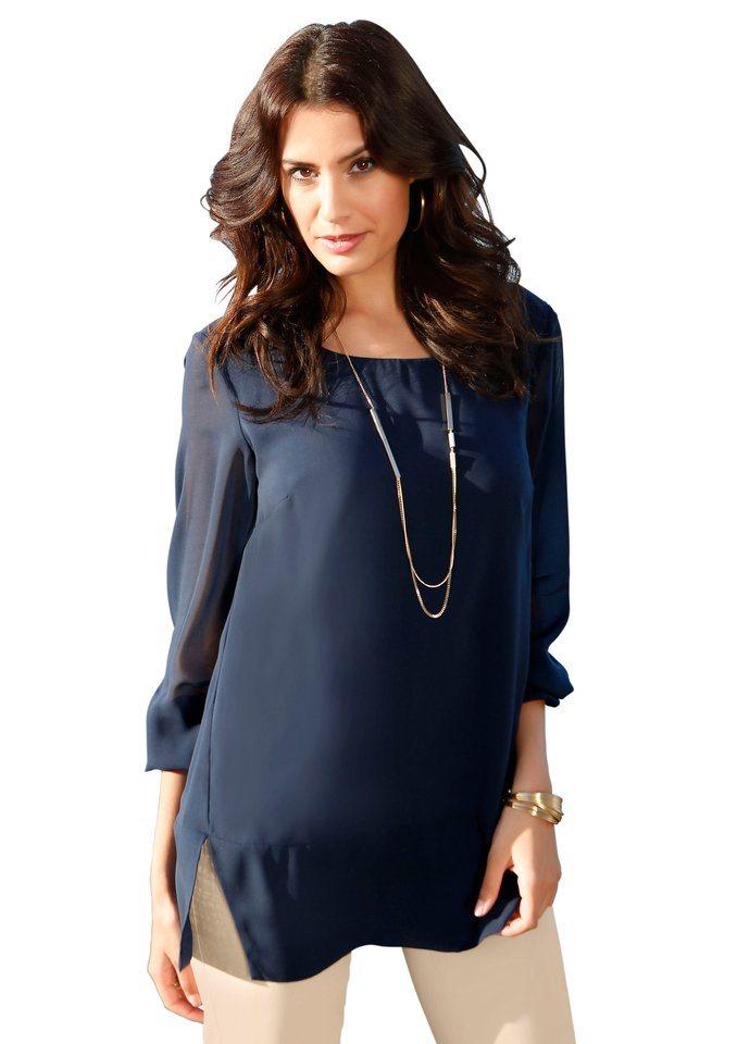 Création L Bluse mit Jersey-Top unterlegt in nachtblau