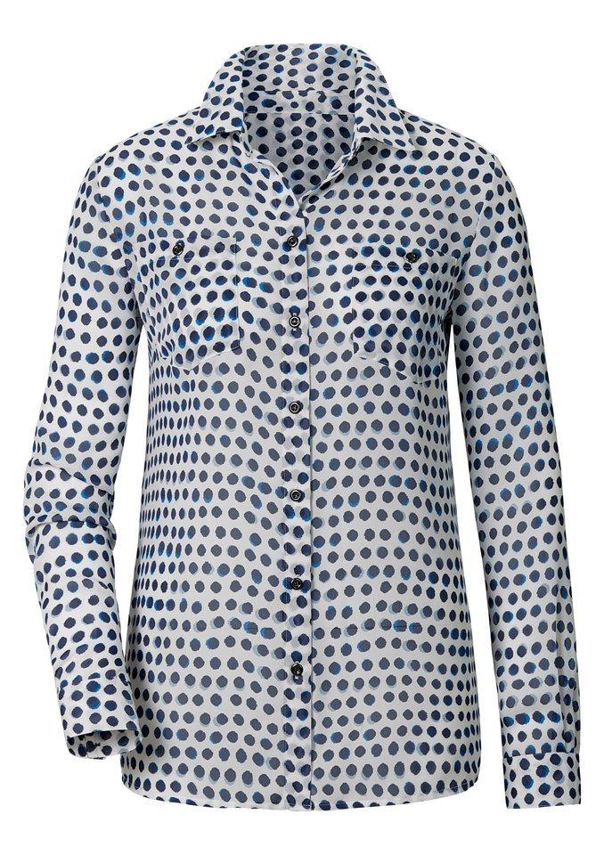 Création L Bluse aus leichtem Chiffon in weiß-bedruckt