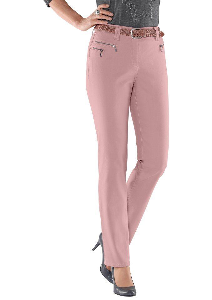 Classic Inspirationen Hose mit doppelten Gürtelschlaufen in rosé