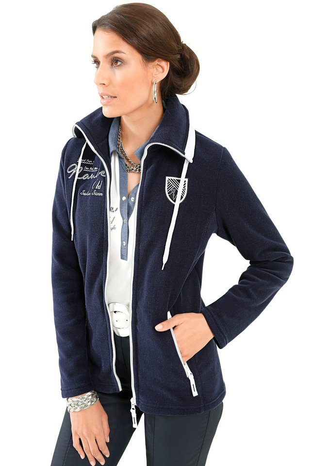 Alessa W. Fleece-Jacke mit Stickerei in marine