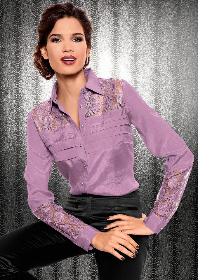 Fair Lady Bluse mit transparenten Spitzeneinsätzen in flieder