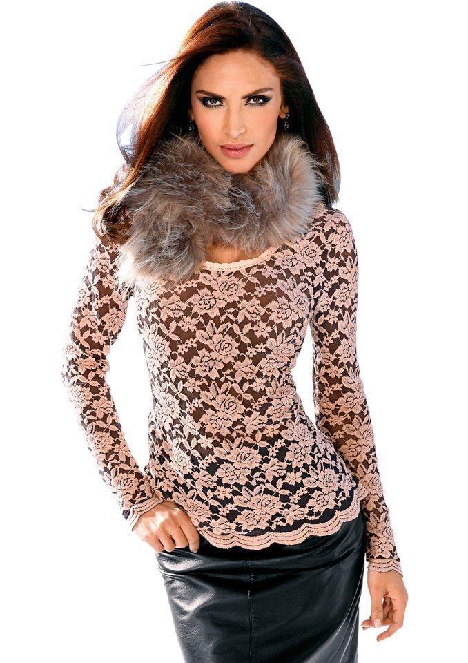 Création L Shirt mit kontrastfarbigem Trägertop darunter in rosé-schwarz