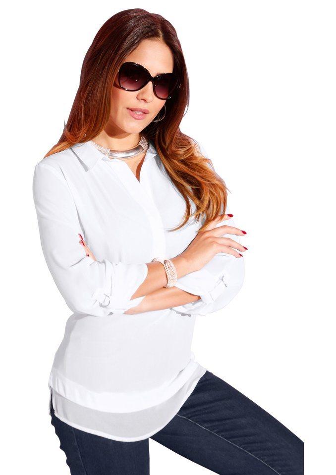 Création L Bluse mit 3/4-lange Ärmel in weiß