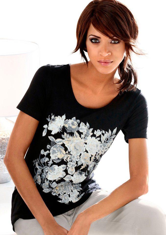 Création L Shirt mit Rosendruck in schwarz-bedruckt