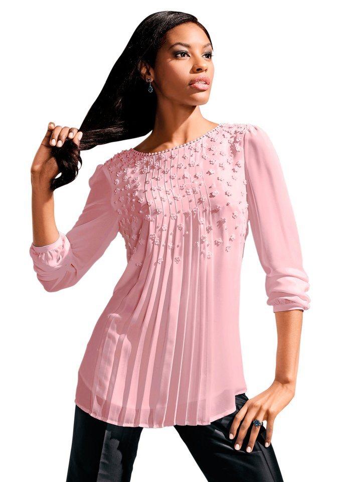 Lady Bluse in fließender, leicht transparenter Chiffon-Qualität in rosé