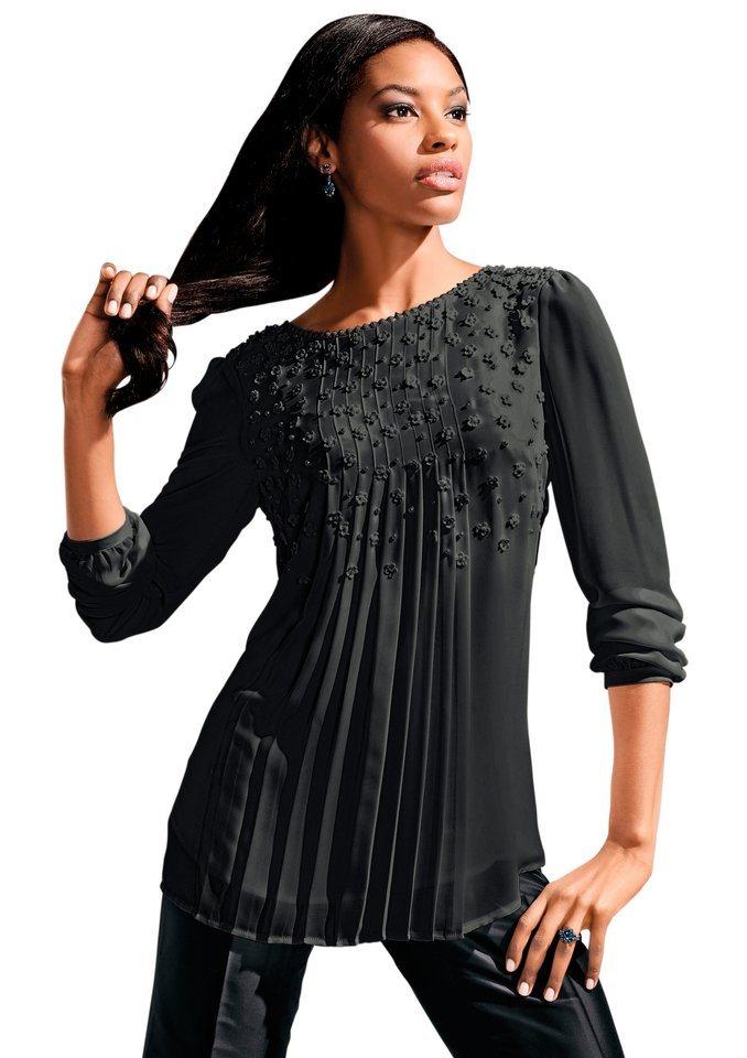 Lady Bluse in fließender, leicht transparenter Chiffon-Qualität in schwarz