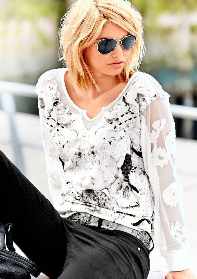 Création L Shirt mit bedrucktem, blickdichtem Body in weiß