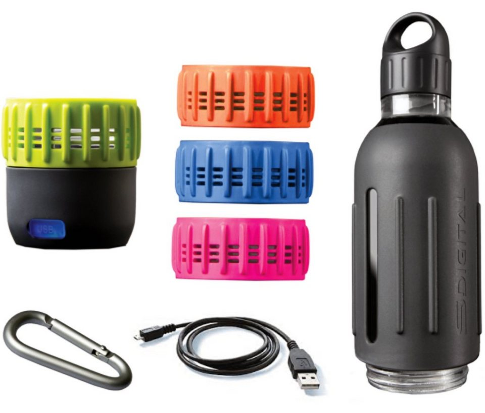 SDigital Trinkflasche mit 360° Sound, »Spritz - Workout Kit« in grau
