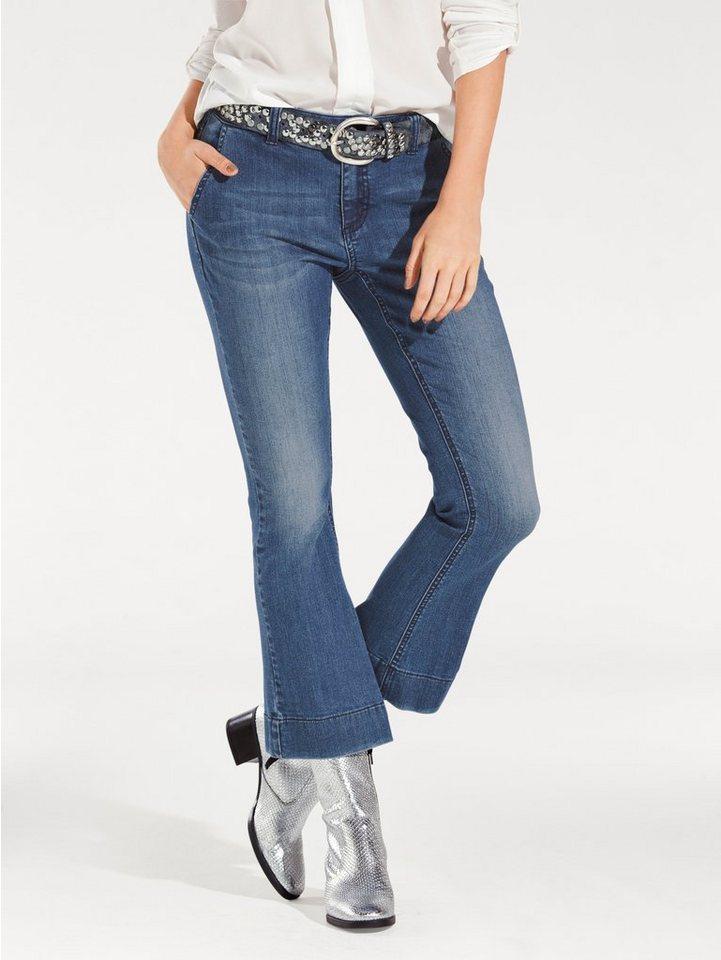 B.C. BEST CONNECTIONS by Heine Flared-Jeans verkürzte Form in blue denim