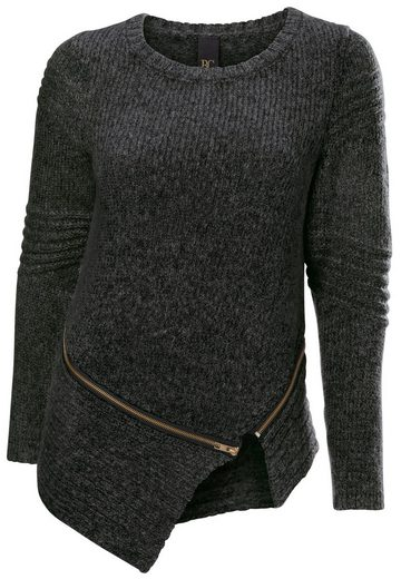 Bc Best Connections By Heine Crew-neck Sweater With Zipper-detail