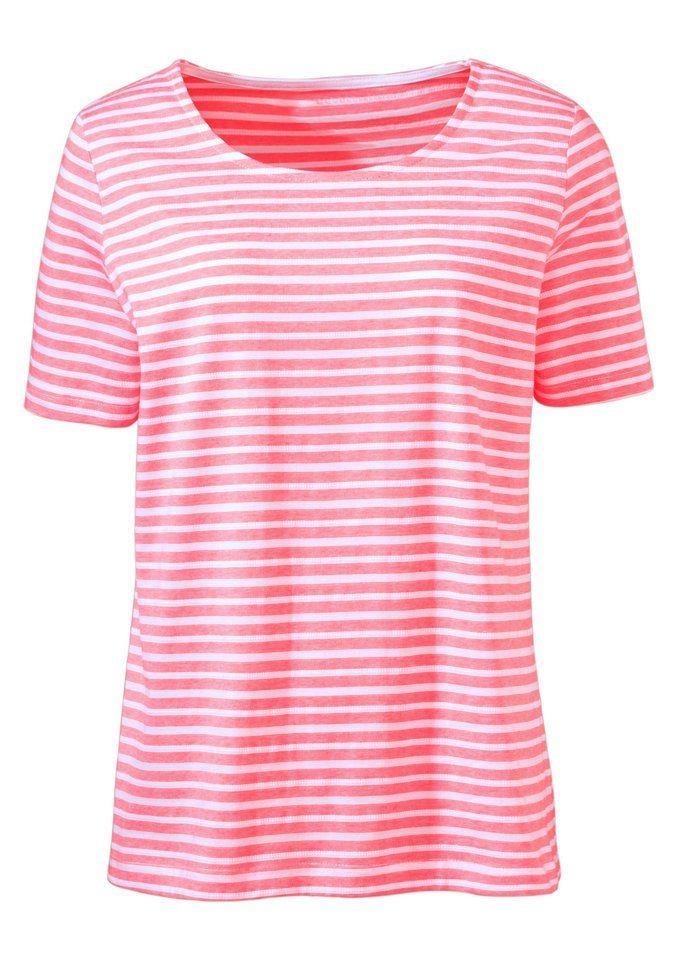 Classic Basics Shirt im strukturierten, hochwertig garngefärbten Ringel in lachs-gestreift