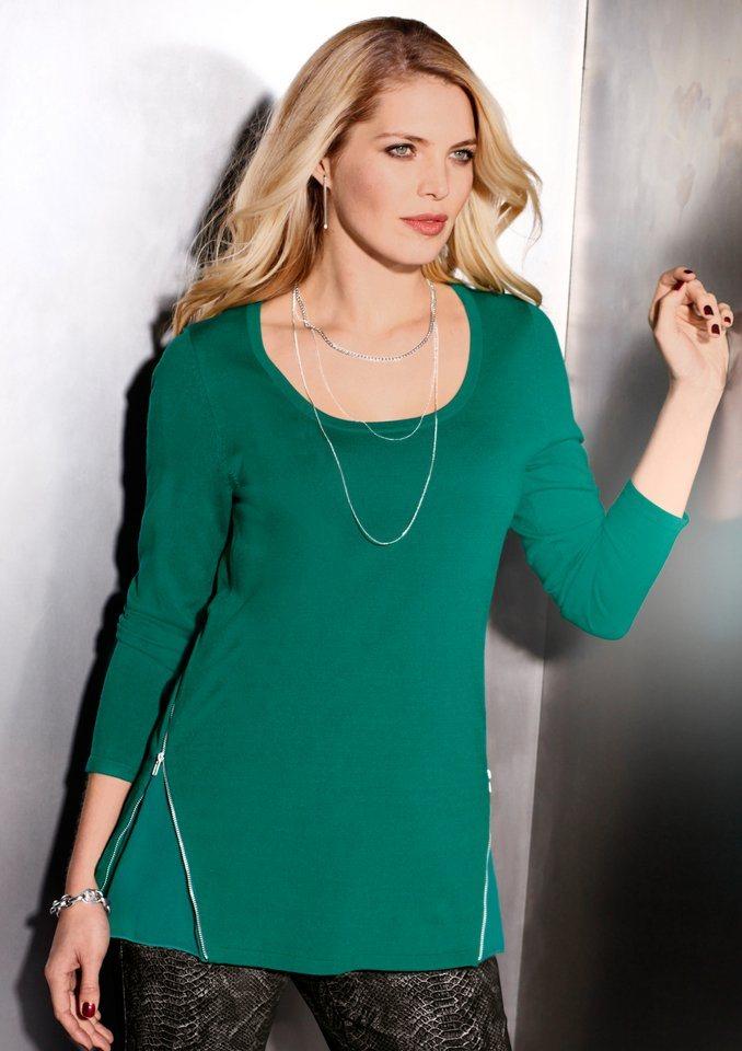 Création L Pullover mit Chiffoneinsatz in grün