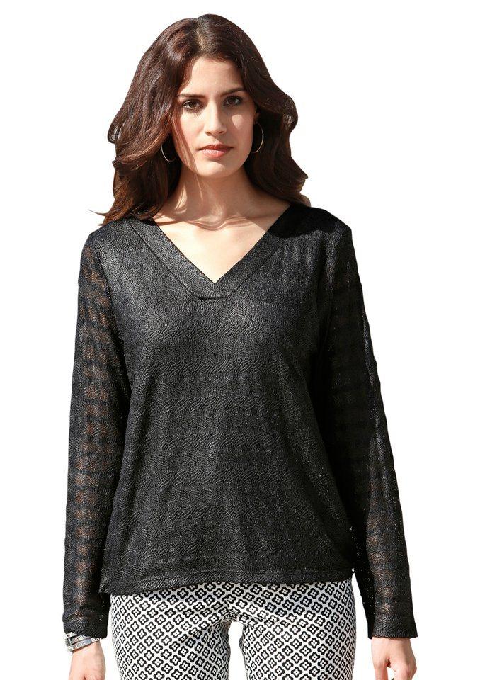 Création L Spitzen-Shirt mit Foliendruck in schwarz