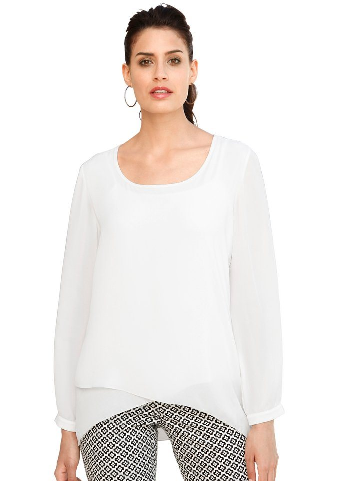 Création L Bluse in duftiger Chiffon-Qualität in weiß