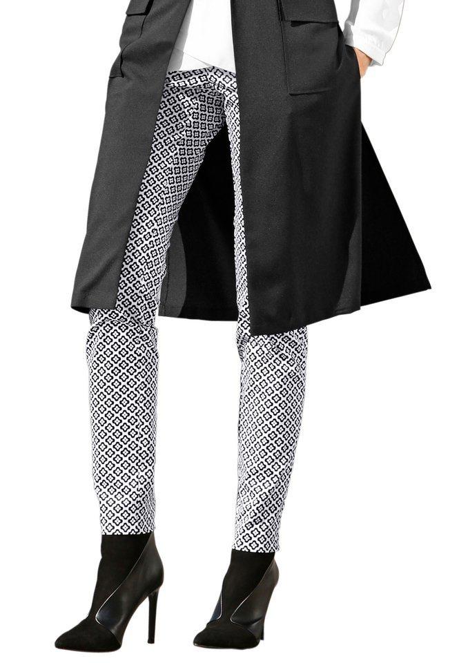 Création L Hose aus fein glänzender Baumwoll-Satin-Qualität in schwarz-weiß-bedruckt