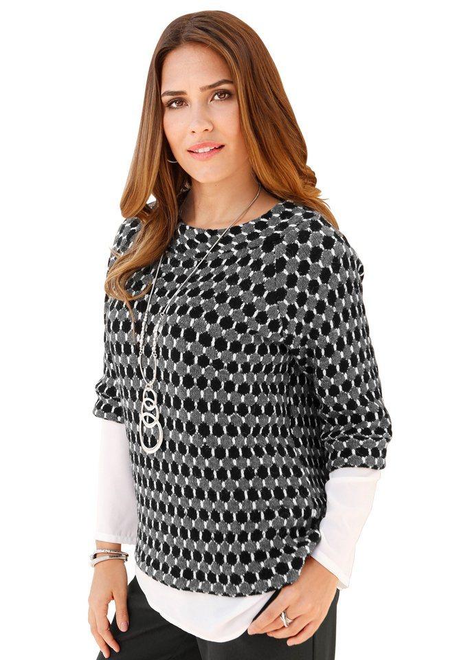Création L Pullover mit 3/4-Ärmel in grau-schwarz