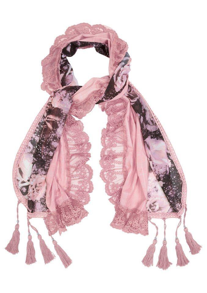 Together Schal mit Quastenverzierung in rosé-bedruckt