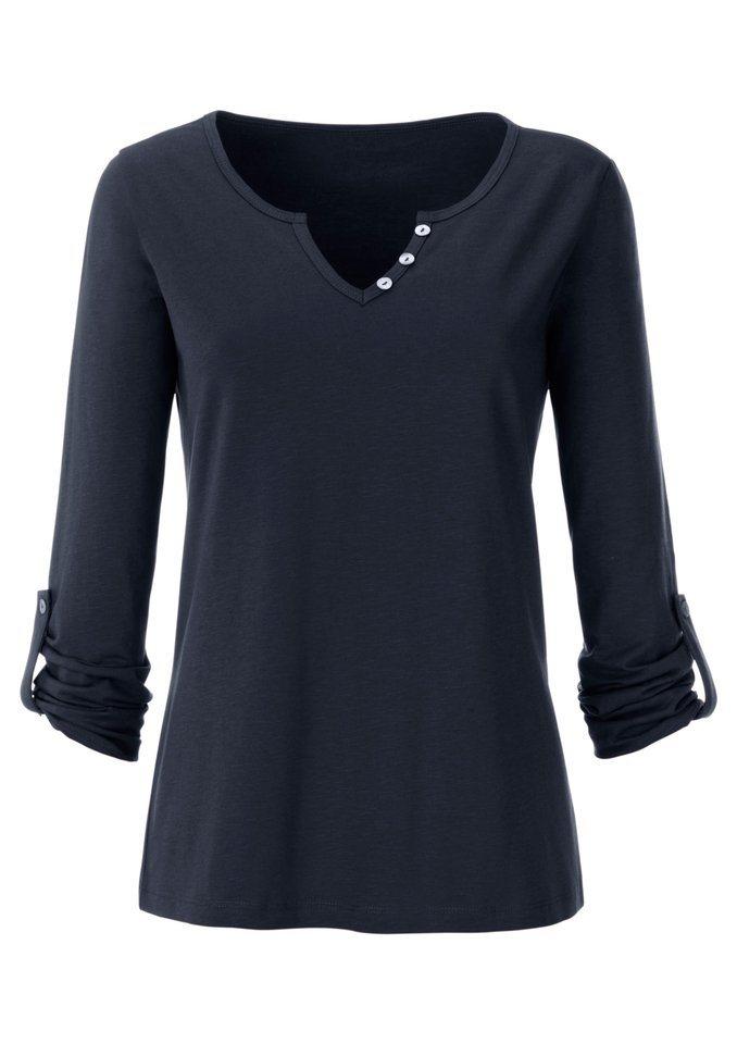 Ambria Shirt aus effektvollem Flammgarn in blau