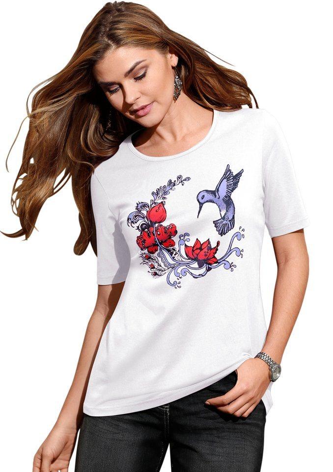 Classic Basics Shirt mit Vorderdruck in weiß