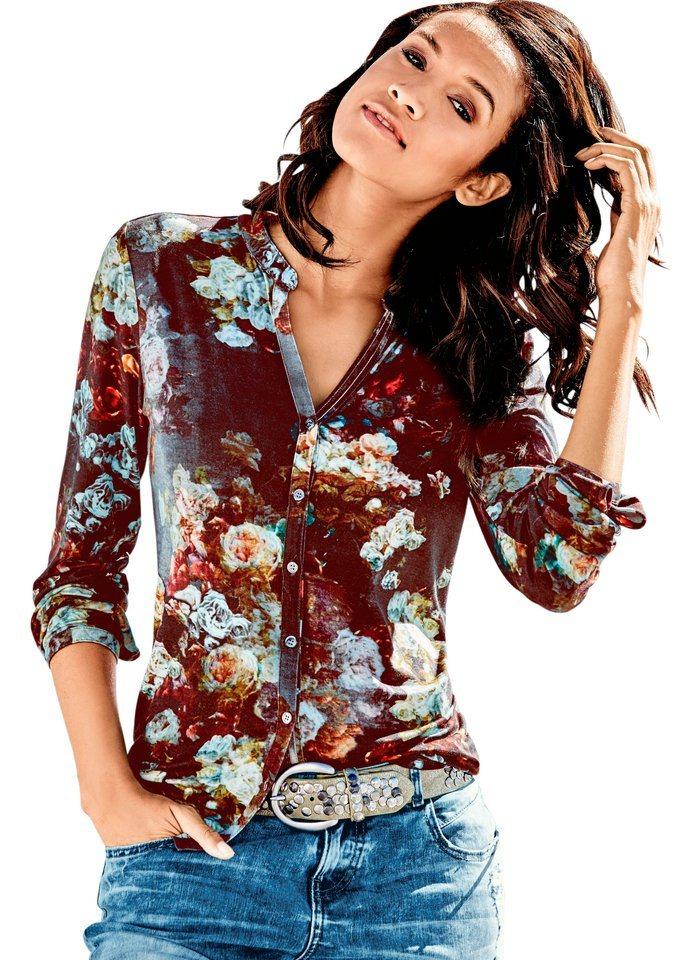 Classic Inspirationen Shirtbluse im Blumendessin in bordeaux-bedruckt