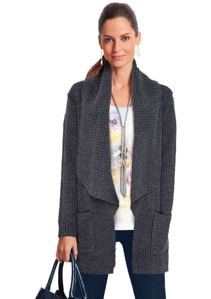 Together Strickjacke mit Schalkragen in anthrazit-meliert
