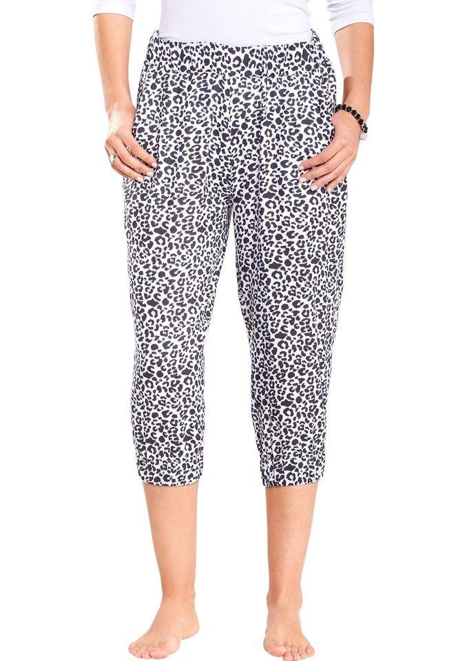 Classic Basics Capri-Hose in gefährlich schönem Leo-Dessin in weiß-schwarz-bedruckt